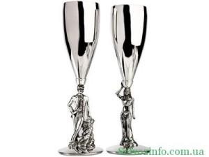 серебрянные бокалы и фужеры