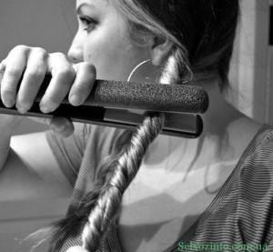 локоны на длинные волосы утюжком