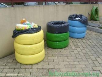 Баки для мусора из покрышек своими руками